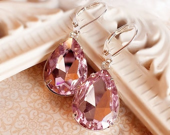 Pink Crystal Earrings - Prom Jewelry - Victorian Earrings - Old Hollywood - CAMBRIDGE Pink