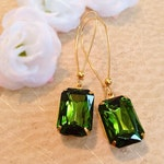 Long Olive Earrings - Green - Art Deco Earrings - Crystal Earrings -  DORSET Olive