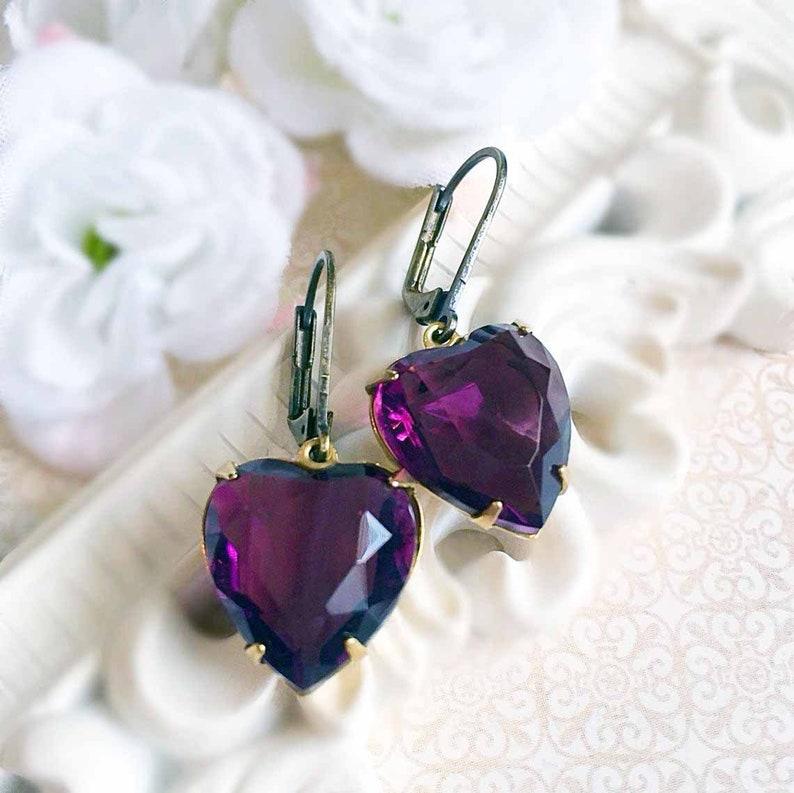 Purple Heart Earrings  Jewelry Gift  CRYSTAL Earrings  image 0