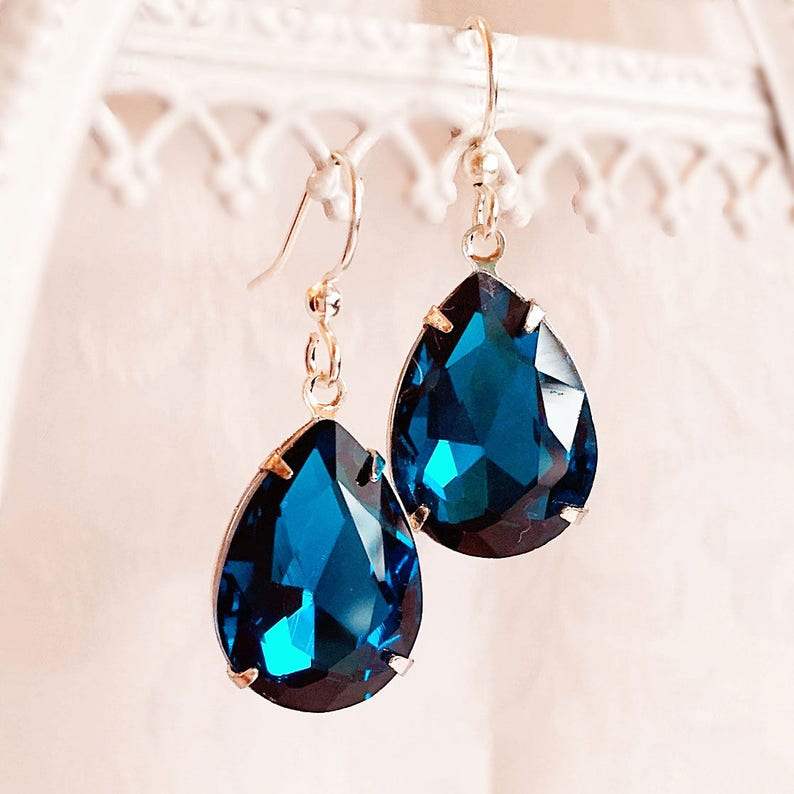 Victorian Earrings  Teal  Bridesmaid Gifts  CAMBRIDGE Teal image 0