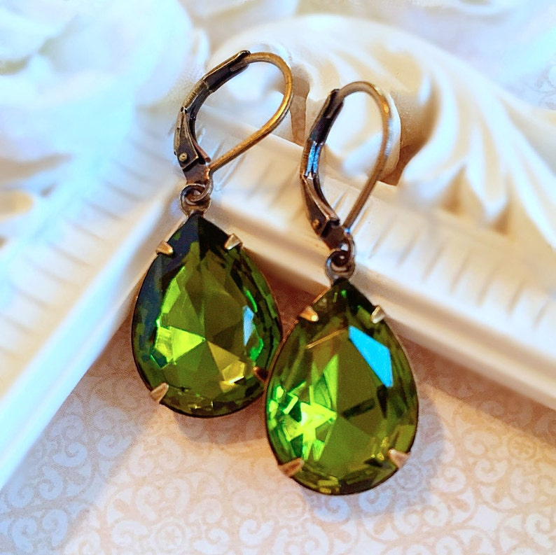 Best Gifts for Wife   Olive Earrings  Victorian Earrings  image 0