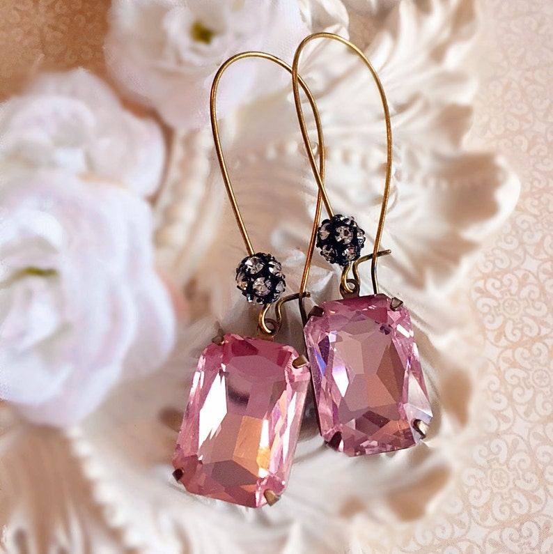 Gift for Her  Blush Pink  Drop Earrings  Crystal Earrings  image 0