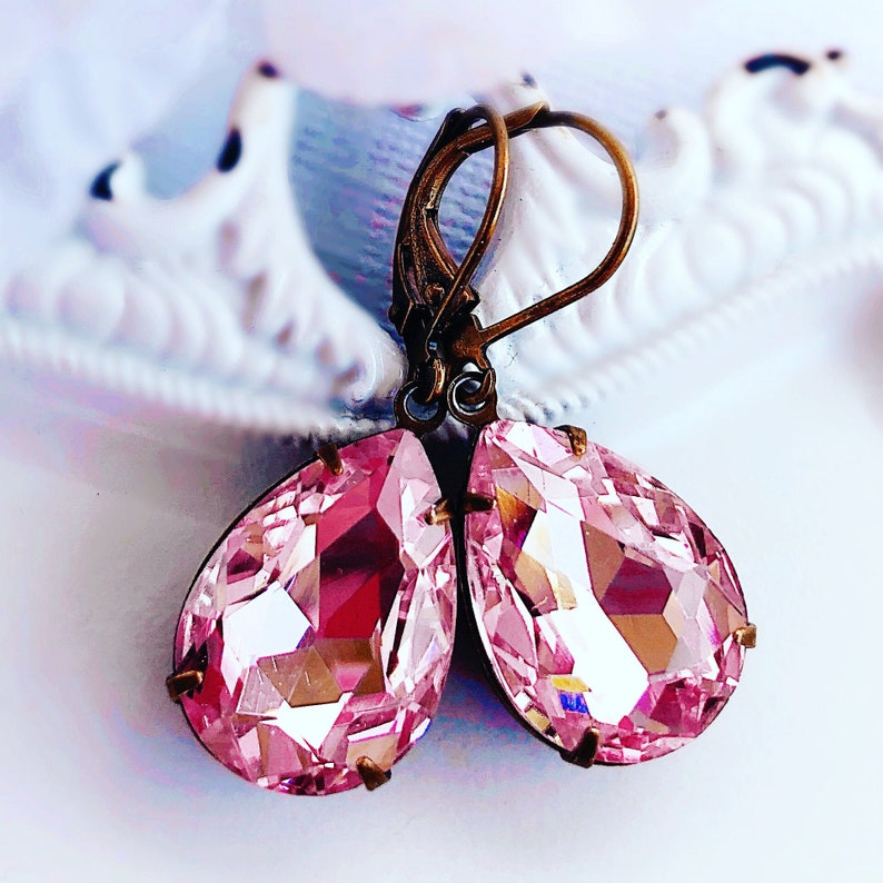 Pink Crystal Earrings  Teardrop Earrings  Pink Earrings  image 0