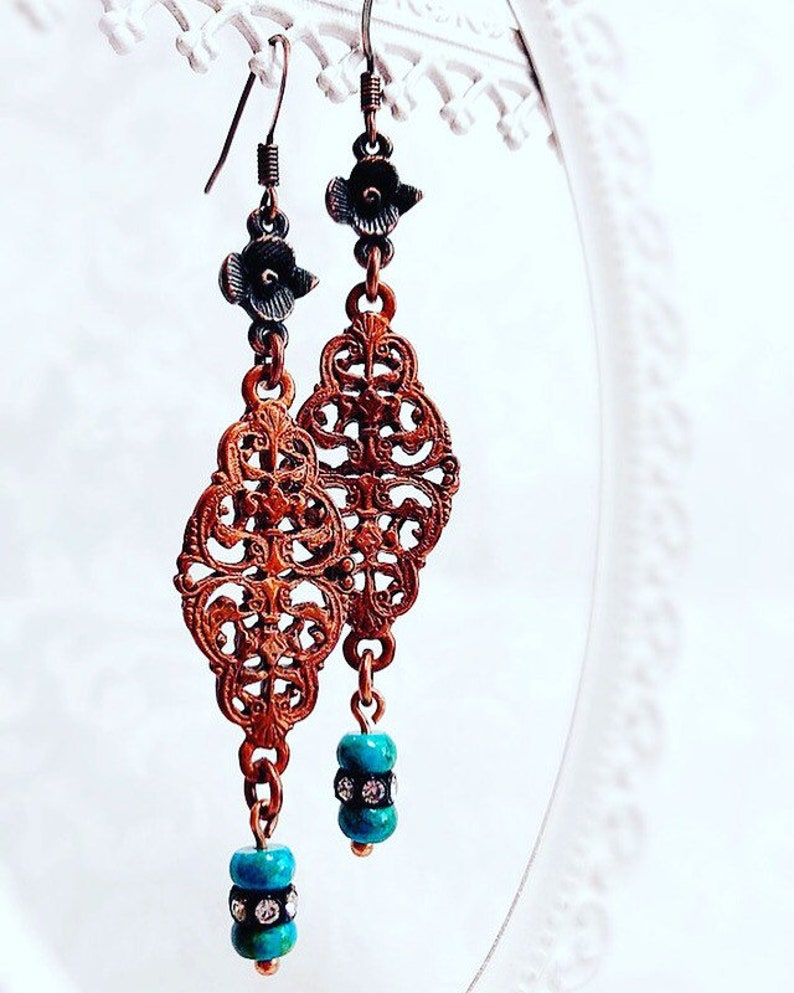 Turquoise Earrings  Gift for Sister  VICTORIAN WEST Earrings image 0