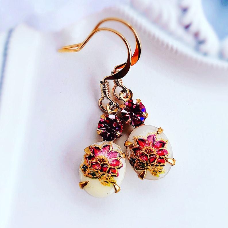 Pink Flower Earrings  Pink Cameo  Vintage Earrings  Petite image 0