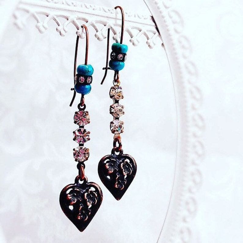 Gift for Wife  Western Earrings  Victorian Earrings  HEART image 0