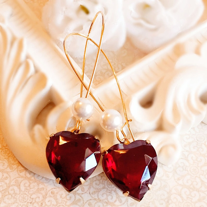 Best Heart Earrings  Red  Valentines Day Gift  Victorian  image 0