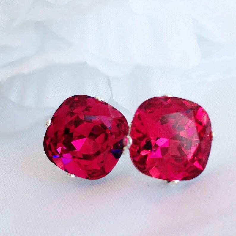 Crystal Stud Earrings  Pink  Swarovksi Earrings  Gift image 0