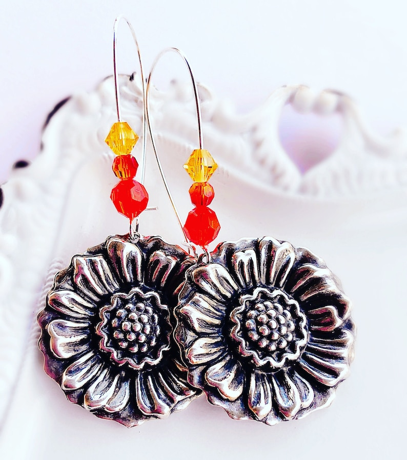 Silver Sunflower Earrings  GIVERNY image 0
