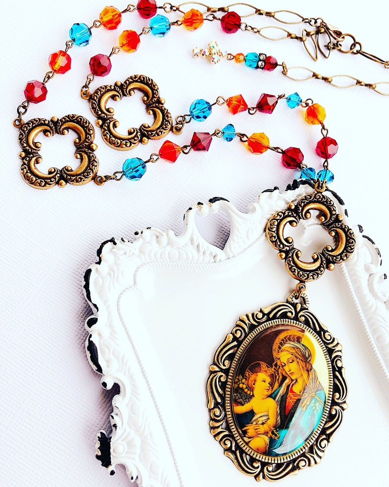 Madonna Necklace  Catholic Necklace  Religious Jewelry  image 0