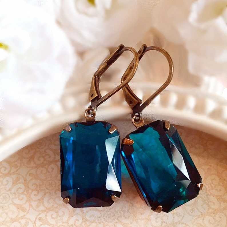 Art Deco Jewelry  Art Deco Earrings  Teal Earrings  image 0