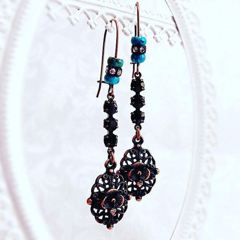 Gift for Wife  Western Earrings  Victorian Earrings  SALOON image 0