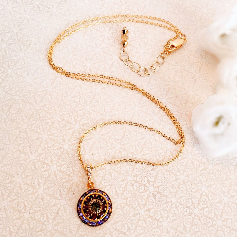 Crystal Necklace  Purple  Victorian Necklace  Rhinestone  image 0
