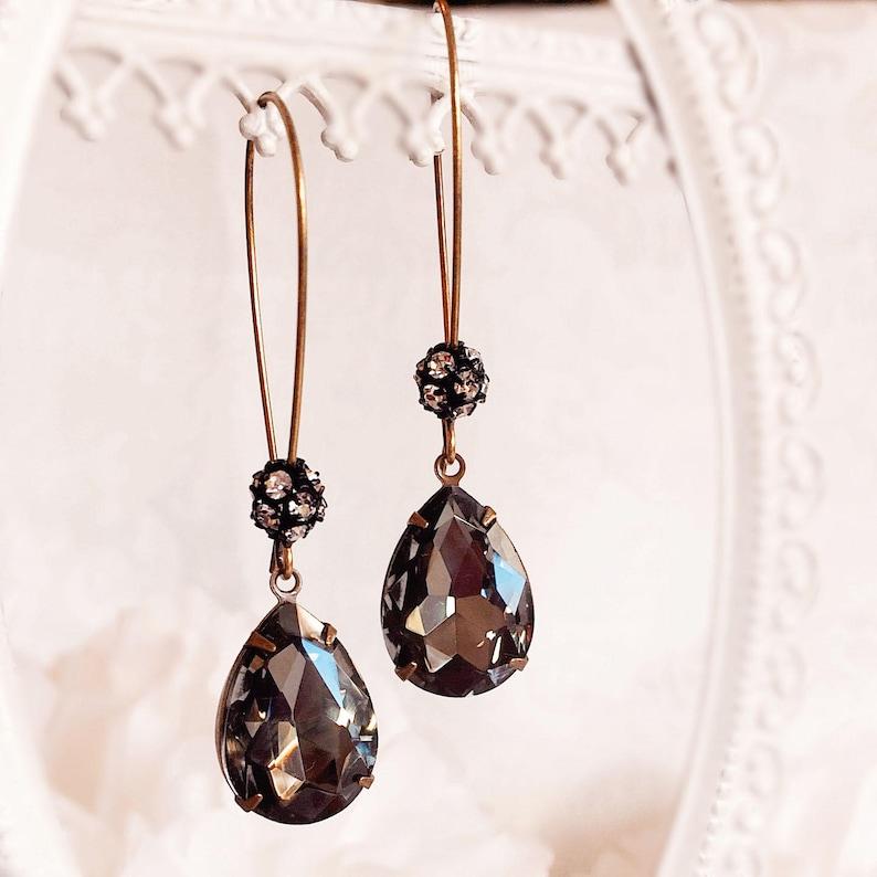 Black Drop Earrings  Charcoal  Teardrop Earrings  Modern  image 0