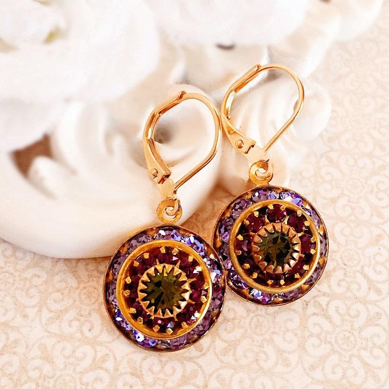 Art Deco Earrings  Purple  Crystal Cluster Earrings  Spring image 0