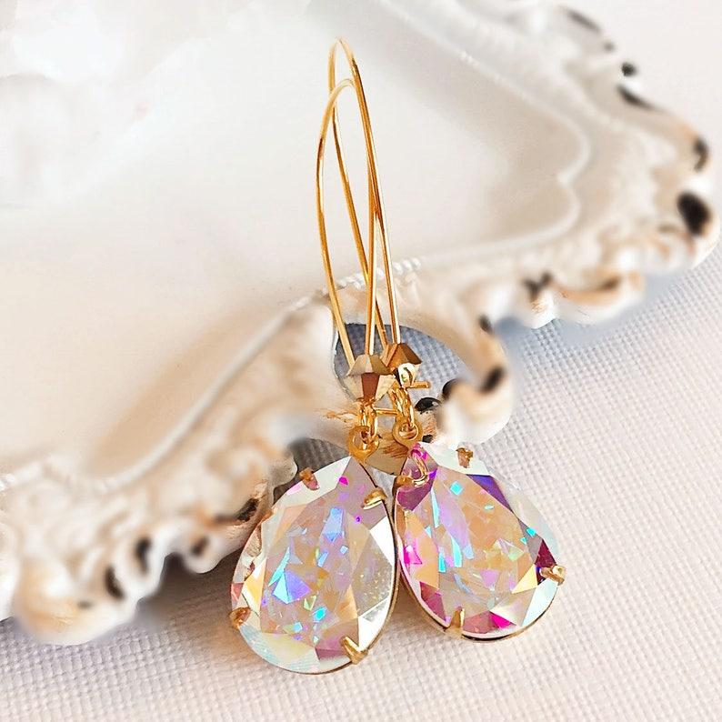 Victorian Earrings  Aurora Borealis  Jewelry Gift  Crystal image 0