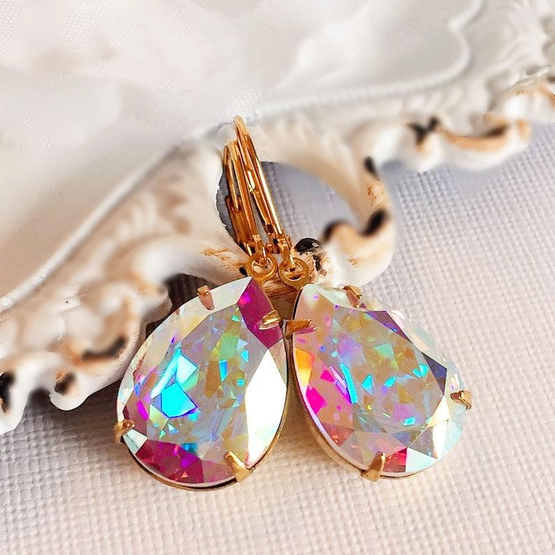 Victorian Earrings  Aurora Borealis  Bridesmaid Earrings  image 0