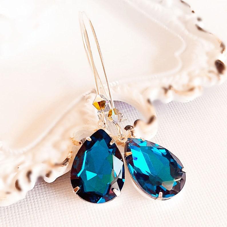 Victorian Earrings  Teal  Jewelry Gift  Crystal Earrings  image 0