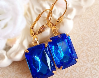 Art Deco Jewelry - Sapphire Earrings - Blue Earrings - Bridesmaid Earrings - Art Deco Earrings - WINDSOR Sapphire