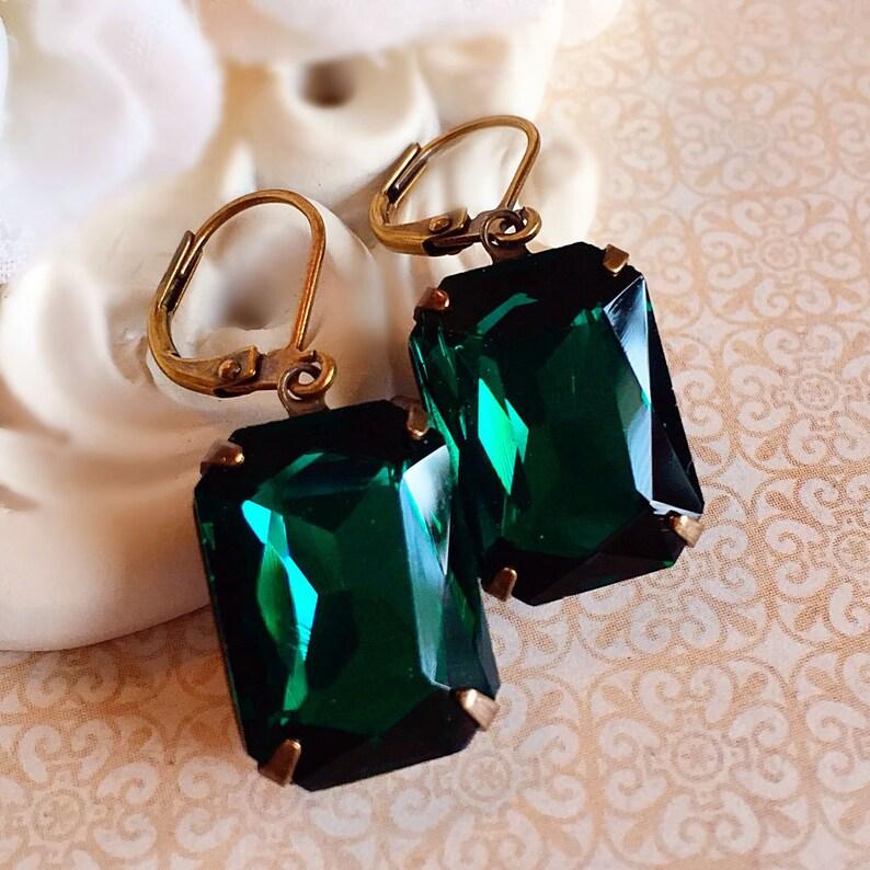 Art Deco Earrings  Emerald Earrings  Green Earrings  Art image 0