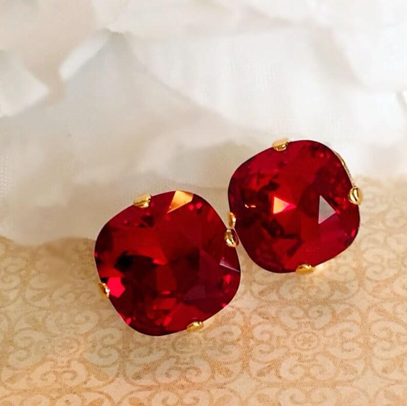 Ruby Stud Earrings  Swarovski  Crystal Earrings   Classic image 0