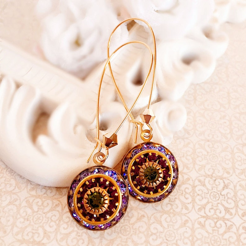 Art Deco Earrings  Purple  Bridesmaid Gifts  Spring Jewelry image 0