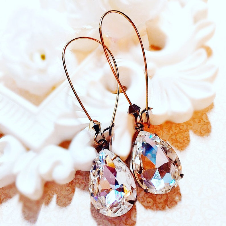Victorian Earrings  White Diamond Jewelry  Valentines Gift  image 0