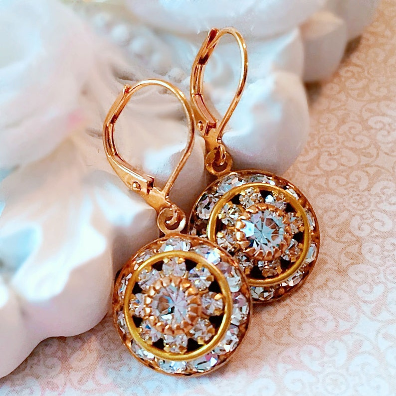 Art Deco Earrings  Best Gifts for Mom  Crystal Cluster image 0