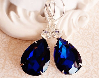 Blue Earrings - Navy - Victorian Jewelry - Bridesmaid Jewelry -  MAYFAIR Navy