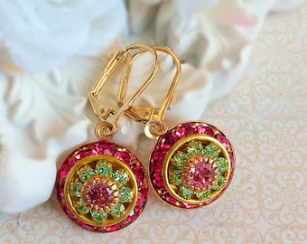Art Deco Jewelry - Pink Earrings - Victorian Earrings - Mother's Day Gift - AURORA Pink