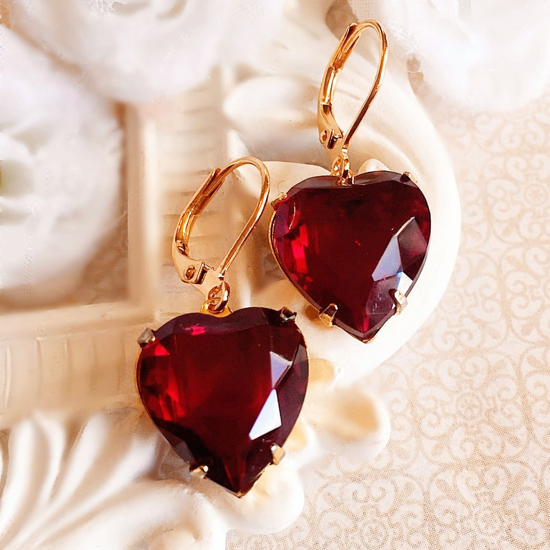 Heart Earrings  Red  Valentines Gift  HEARTSONG Red image 0