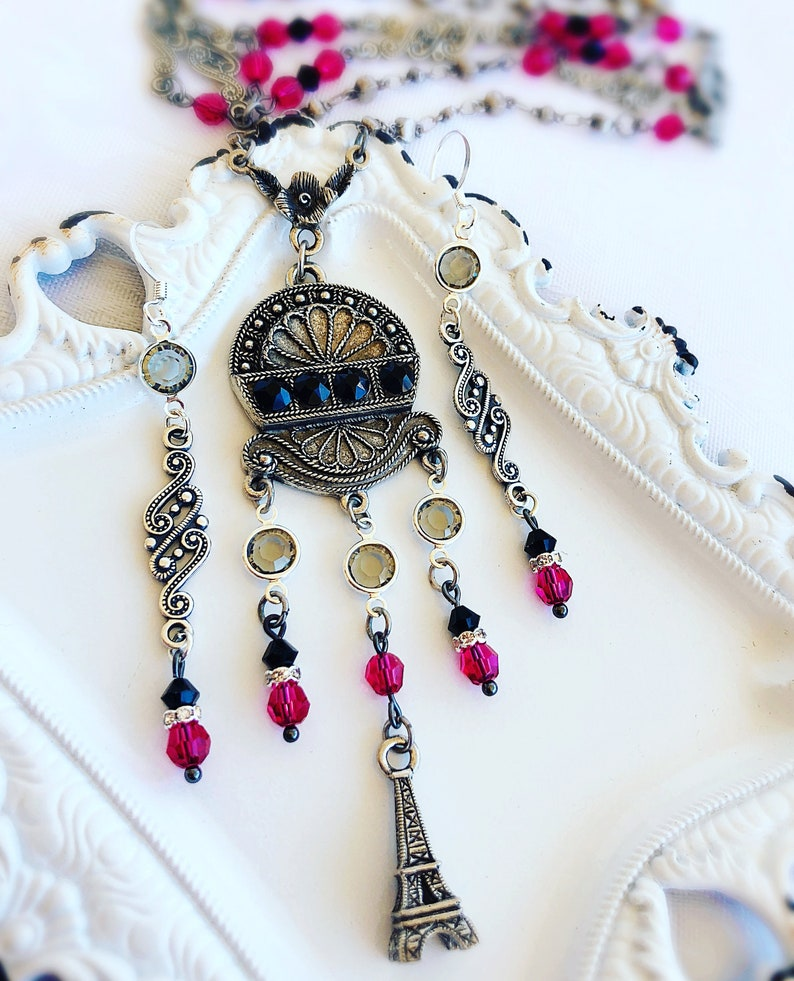 Art Deco Jewelry Set  Paris Jewelry  Vintage Necklace  Art image 0