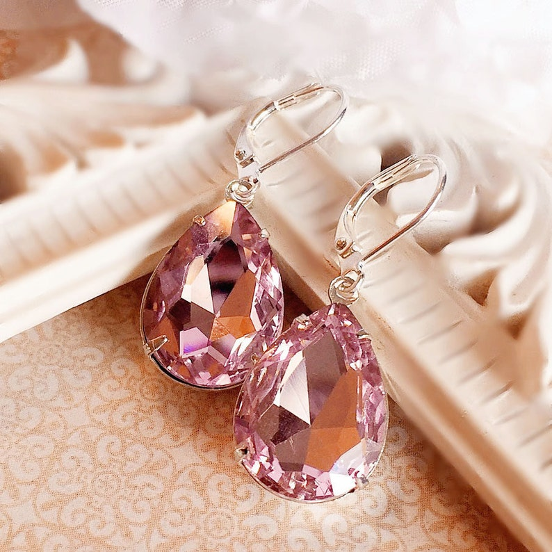 Pink Crystal Earrings  Prom Jewelry  Victorian Earrings  image 0