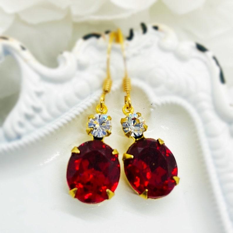 Red Dangle Earrings  Victorian Jewelry  Crystal Earrings  image 0