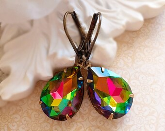 Bright Colorful Earrings - Victorian Earrings - Gifts for Her - Crystal Earrings - CAMBRIDGE Rainbow