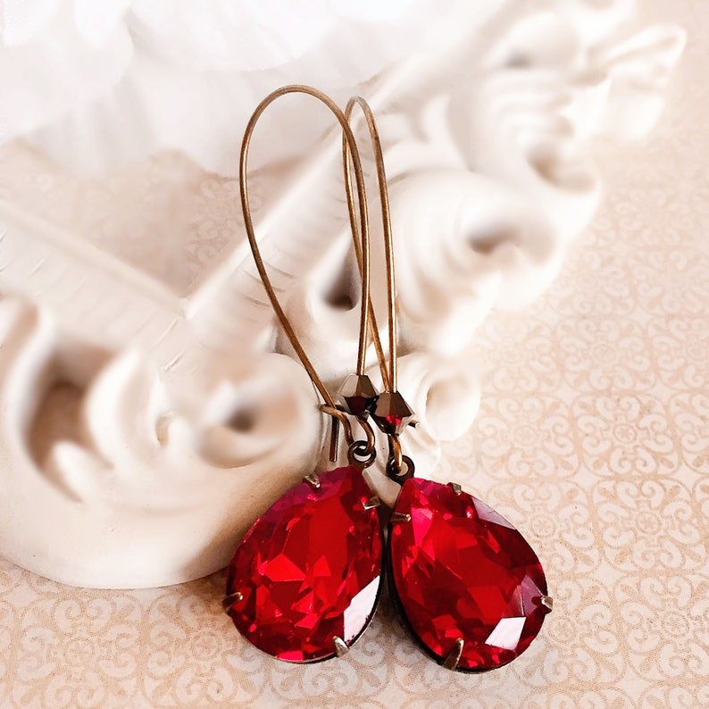 Red Dangle Earrings  Ruby   Red Teardrop Earrings  Modern  image 0