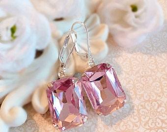 Blush Pink Crystal Earrings - Rose Earrings - Bridesmaid Earrings -  Art Deco Jewelry - WINDSOR Blush