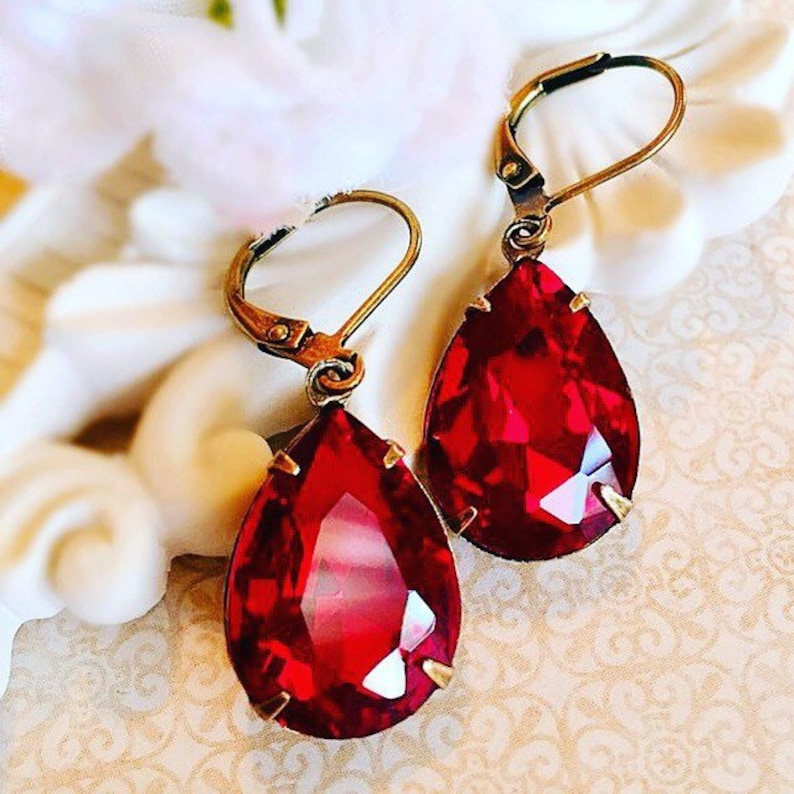Best Ruby Earrings  Red  Victorian Jewelry  Dangle  image 0