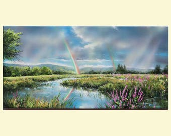 Sky Painting, Storm Clouds, Landscape Painting, Thunderstorm-Painting, Acrylic Painting, Rainbow Painting, Modern Wall Art by Debora Everett