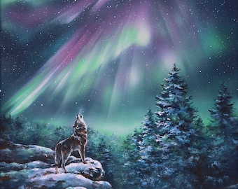 Sale Aurora Borealis Print On Wood Panel  Original Northern Lights Painting, Wolf, Sky Art, Galaxy Stars, Gift, Night Sky, Winter, Space Art
