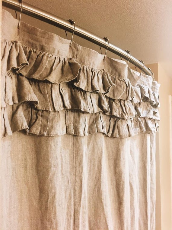 LIZZY 3 Tiered Shower Curtain 100 Linen