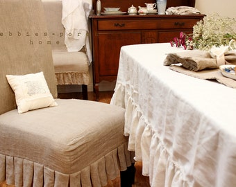 "TABLE CLOTH...linen with frayed ruffle ""Lilly"""