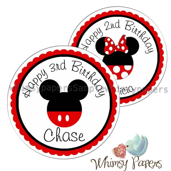 Mickey And Minnie Mouse Stickers.Mickey Mouse Stickers Disney Birthday Labels Minnie Mouse Stickers