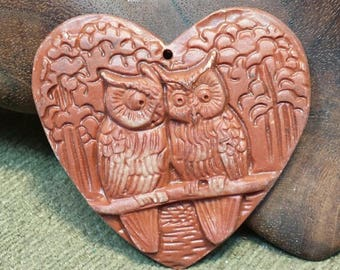 SALE #HonorSacrifice ~ NEW ~ Two Owls Sitting in a Tree K I S S I N G Red Malachite