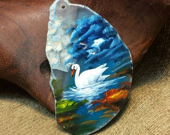 Swan Hand Painted on Agate Slice