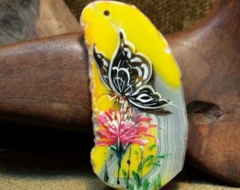 NEW ~ Black Butterfly on Pink Dahlia Hand Painted on Large Yellow Freeform Agate