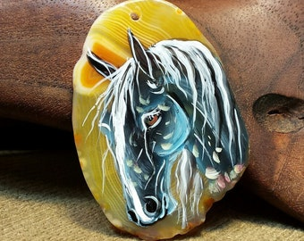 NEW ~ Striking Dark Horse Hand Painted on Yellow Agate Slice