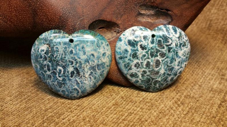 NEW  Teal Blue Chrysanthemum Ammonite Fossil Heart image 0