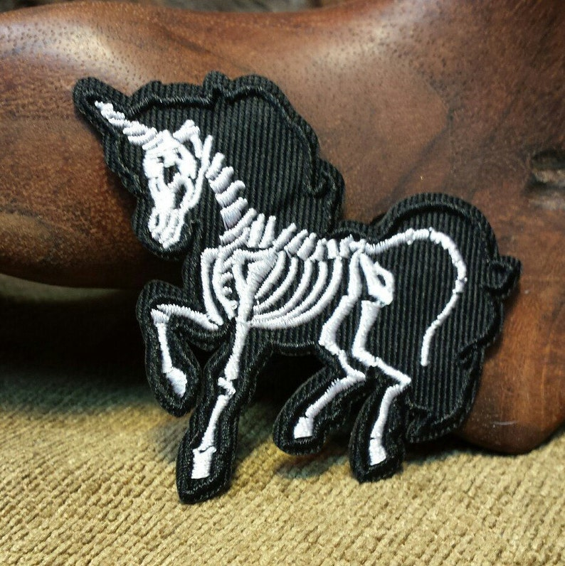 Awesome Unicorn Skeleton Embroidered Patch image 0