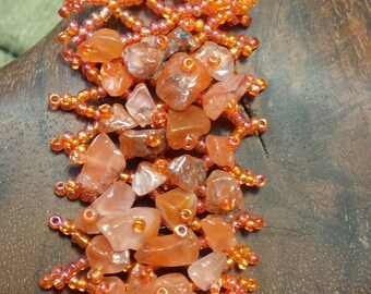 Beaded Stone Chip Bracelet - Natural Agate